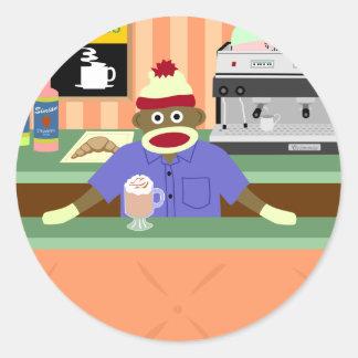 Sock Monkey Coffee Shop Barista Round Sticker