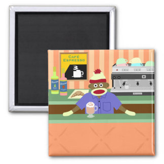 Sock Monkey Coffee Shop Barista Square Magnet