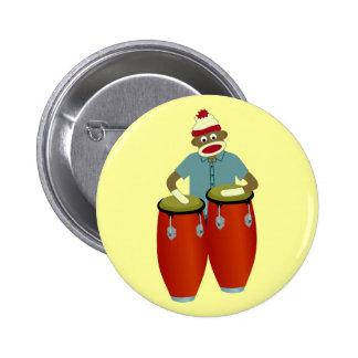 Sock Monkey Conga Drums 6 Cm Round Badge