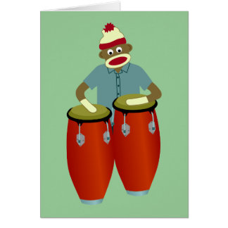 Sock Monkey Conga Drums Greeting Cards