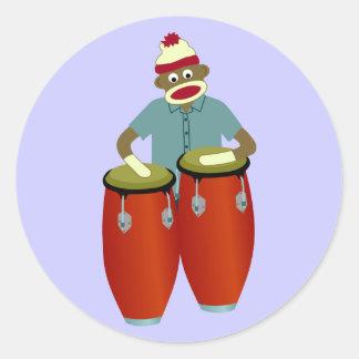 Sock Monkey Conga Drums Round Sticker