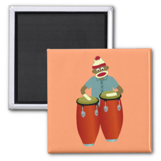 Sock Monkey Conga Drums Square Magnet