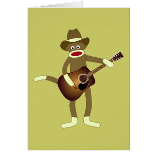 Sock Monkey Country Music Greeting Cards