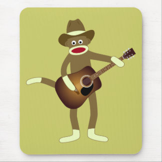 Sock Monkey Country Music Mouse Pad