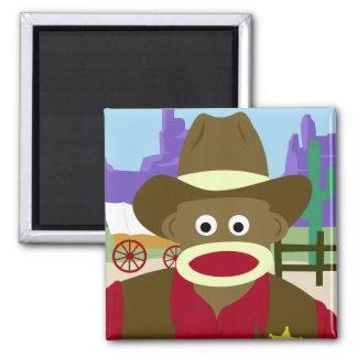 Sock Monkey Cowboy Magnet