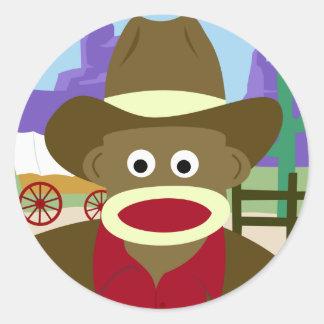 Sock Monkey Cowboy Round Sticker