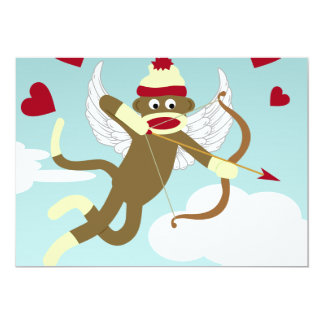 Sock Monkey Cupid 13 Cm X 18 Cm Invitation Card