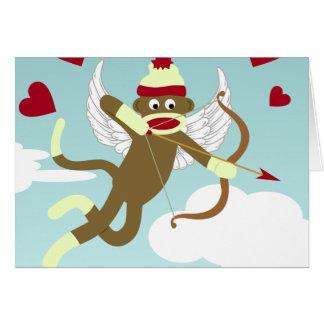 Sock Monkey Cupid Greeting Card