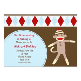 Sock Monkey Custom Birthday Party Invitaitons Card