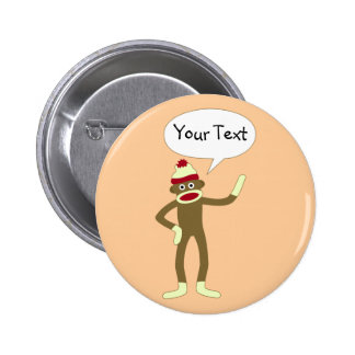 Sock Monkey Customizable Comic Speech Bubble 6 Cm Round Badge