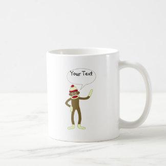 Sock Monkey Customizable Comic Speech Bubble Basic White Mug