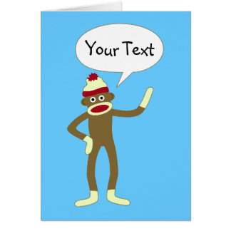 Sock Monkey Customizable Comic Speech Bubble Card