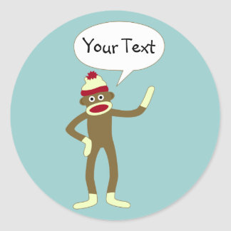 Sock Monkey Customizable Comic Speech Bubble Classic Round Sticker