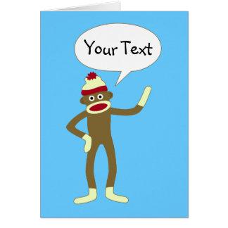 Sock Monkey Customizable Comic Speech Bubble Greeting Card