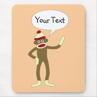 Sock Monkey Customizable Comic Speech Bubble Mouse Mat