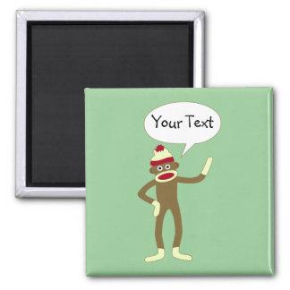 Sock Monkey Customizable Comic Speech Bubble Square Magnet