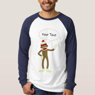 Sock Monkey Customizable Comic Speech Bubble T-Shirt