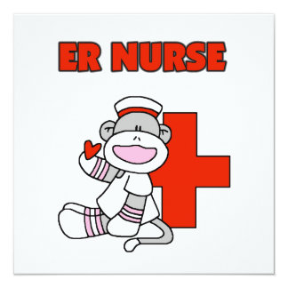 Sock Monkey ER Nurse T-shirts and Gifts 13 Cm X 13 Cm Square Invitation Card