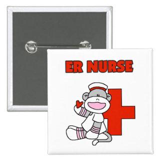 Sock Monkey ER Nurse T-shirts and Gifts 15 Cm Square Badge
