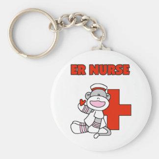Sock Monkey ER Nurse T-shirts and Gifts Basic Round Button Key Ring