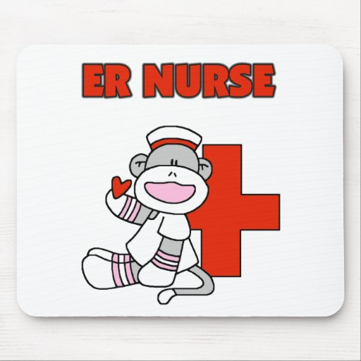 Sock Monkey ER Nurse T-shirts and Gifts Mouse Pad