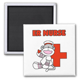Sock Monkey ER Nurse T-shirts and Gifts Square Magnet