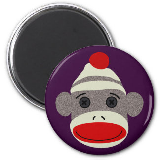 Sock Monkey Face 6 Cm Round Magnet
