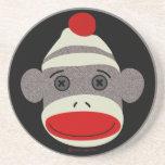 Sock Monkey Face Beverage Coasters