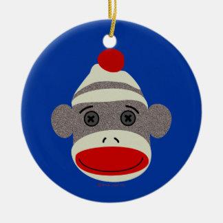 Sock Monkey Face Christmas Ornament