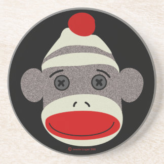 Sock Monkey Face Coaster
