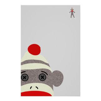 Sock Monkey Face Customized Stationery