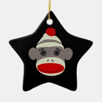 Sock Monkey Face Ceramic Star Decoration