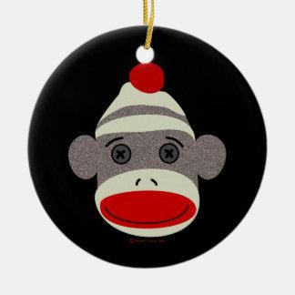 Sock Monkey Face Christmas Tree Ornament