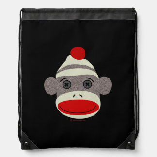 Sock Monkey Face Drawstring Bag