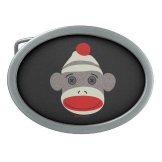 Sock Monkey Face Oval Belt Buckle