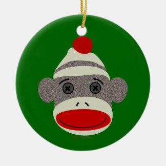 Sock Monkey Face Round Ceramic Decoration