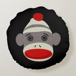 Sock Monkey Face Round Cushion