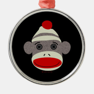 Sock Monkey Face Silver-Colored Round Decoration