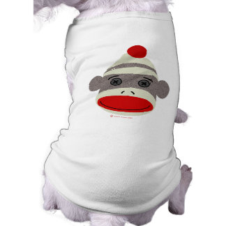 Sock Monkey Face Sleeveless Dog Shirt