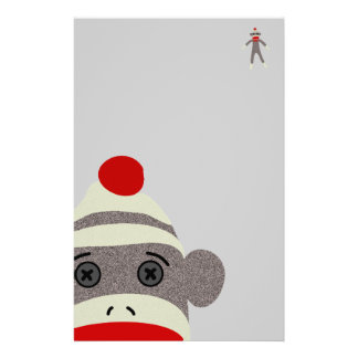 Sock Monkey Face Custom Stationery