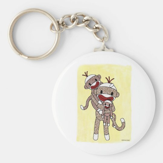Sock Monkey Family 02 Keychain