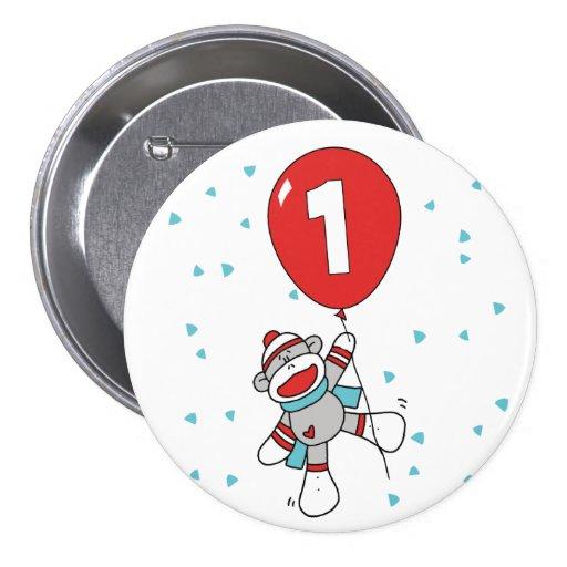 Sock Monkey First Birthday Pinback Buttons