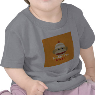 Sock Monkey First Birthday Orange Kelly Schwark Tees