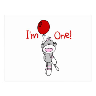 Sock Monkey First Birthday Tshirts and Gifts Postcard