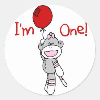 Sock Monkey First Birthday Tshirts and Gifts Round Sticker
