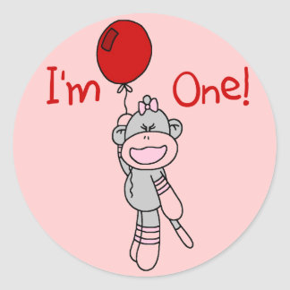 Sock Monkey First Birthday Tshirts and Gifts Sticker