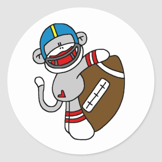 Sock Monkey Football Classic Round Sticker