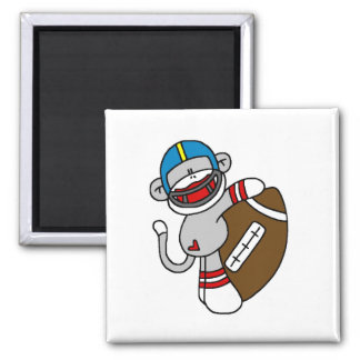 Sock Monkey Football T-shirts and Gifts Square Magnet