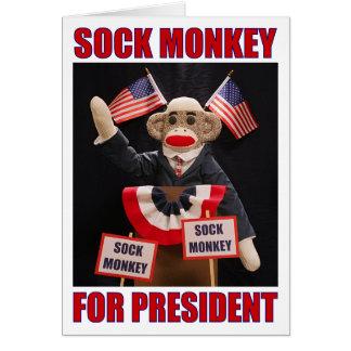 Sock Monkey for President Note Card