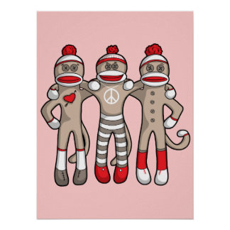 Sock Monkey Friends Forever Poster